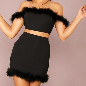 Black Crop Top and Skirt Set